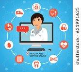healthcare service online.... | Shutterstock .eps vector #621991625