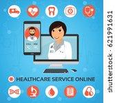 healthcare service online.... | Shutterstock .eps vector #621991631