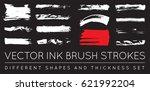 set of vector black pen ink... | Shutterstock .eps vector #621992204