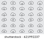 cloud line icons set  outline... | Shutterstock .eps vector #621992237