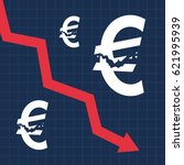 crashed euro sign and falling... | Shutterstock .eps vector #621995939