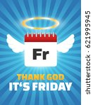 thank god its friday quote ... | Shutterstock .eps vector #621995945