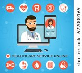healthcare service online.... | Shutterstock .eps vector #622000169