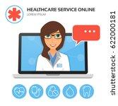 healthcare service online.... | Shutterstock .eps vector #622000181