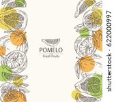 background with pomelo and... | Shutterstock .eps vector #622000997
