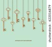 antique skeleton keys hanging... | Shutterstock .eps vector #622016879
