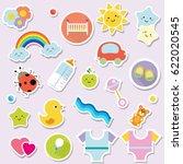 baby stickers. kids  children... | Shutterstock .eps vector #622020545