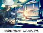 double exposure of  engineer or ... | Shutterstock . vector #622022495