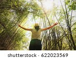 young woman freedom travel and... | Shutterstock . vector #622023569