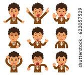 cartoon a businessman faces... | Shutterstock .eps vector #622057529