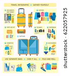 big suitcase set in flat style  ... | Shutterstock .eps vector #622057925