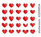 vector red hearts set. i love... | Shutterstock .eps vector #622058534