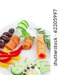 rolled salmon slice on white...   Shutterstock . vector #62205997