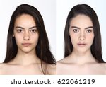 latin tan skin woman before and ... | Shutterstock . vector #622061219