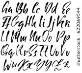 hand drawn dry brush font.... | Shutterstock .eps vector #622069544