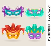 set of carnival mask with... | Shutterstock .eps vector #622071809