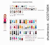 character creation casuallady | Shutterstock .eps vector #622076804