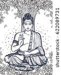 sitting buddha over the bodhi... | Shutterstock .eps vector #622089731