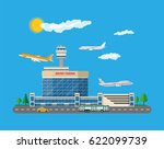 aircraft above the ground.... | Shutterstock .eps vector #622099739