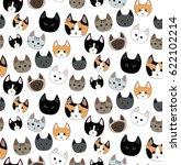 cute cats seamless pattern on... | Shutterstock .eps vector #622102214