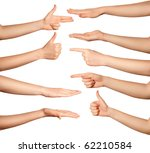 Many Human Hands Isolated On...