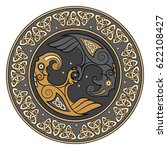 viking shield  decorated with a ... | Shutterstock .eps vector #622108427