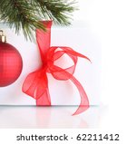 gift box with  red bow and... | Shutterstock . vector #62211412