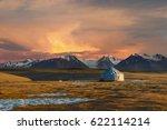 kazakh yurt on steppe ... | Shutterstock . vector #622114214