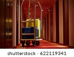 cart of porter with suitcases... | Shutterstock . vector #622119341