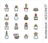 various plant flower pot line... | Shutterstock .eps vector #622119677