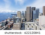 aerial view of seattle... | Shutterstock . vector #622120841