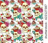 skull. cupcake. seamless vector ... | Shutterstock .eps vector #622127387