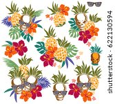 hibiscus and pineapple... | Shutterstock .eps vector #622130594