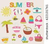 summer elements stickers set.... | Shutterstock .eps vector #622131761