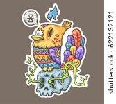 cartoon bird with tribal... | Shutterstock .eps vector #622132121