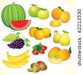 juicy fruits  set of isolated ... | Shutterstock .eps vector #62213530