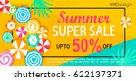 summer super sale banner with... | Shutterstock .eps vector #622137371