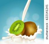 milk and kiwi  fruit milkshake. ... | Shutterstock .eps vector #622141241