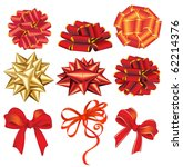 holiday red and golden bows.... | Shutterstock .eps vector #62214376