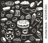 hand drawing set of sweets ... | Shutterstock .eps vector #622145261