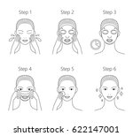 steps how to apply facial sheet ... | Shutterstock . vector #622147001