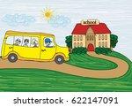 illustration of a school bus... | Shutterstock . vector #622147091