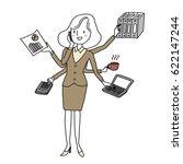 businesswoman in skirt suit... | Shutterstock .eps vector #622147244