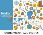 set of vector social media... | Shutterstock .eps vector #622149215