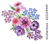 Stock photo watercolor composition of flowers hand painted floral elements isolated on white background 622149449