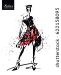 fashion girl in sketch style.... | Shutterstock .eps vector #622158095