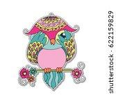 Cute Colorful Cartoon Owl...