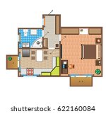 layout of the apartment with... | Shutterstock . vector #622160084