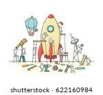 sketch of working little people ... | Shutterstock .eps vector #622160984