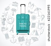 travel suitcase with... | Shutterstock .eps vector #622161995